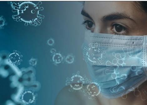 bilde av virus og kvinne med munnbind
